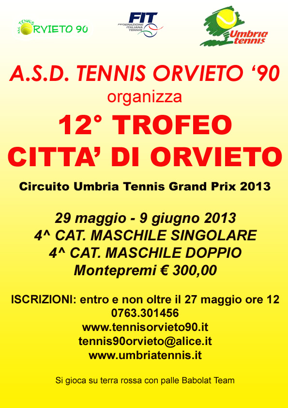 Circuito Umbria Tennis. Via al 12° Trofeo