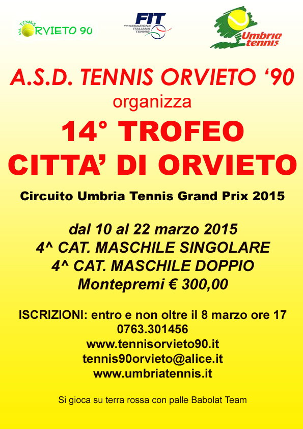 Tennis. 14° Trofeo Città di Orvieto