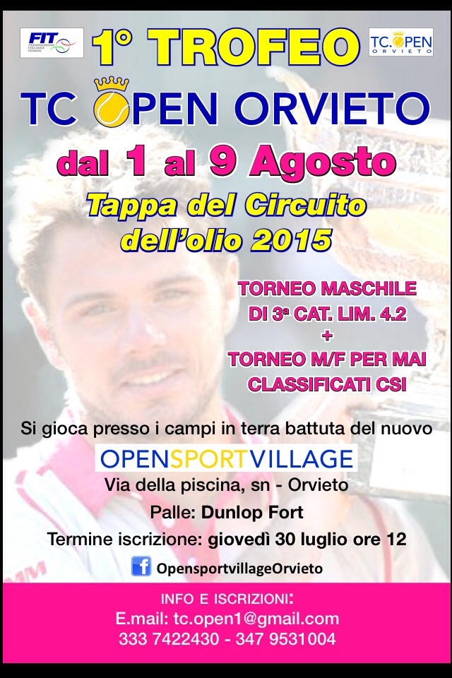 Tennis. 1° Trofeo TC Open Orvieto