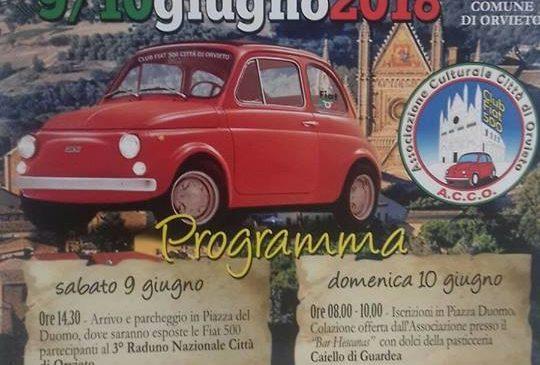 3° meeting nazionale Fiat 500. Il 9 e 10 giugno ad Orvieto